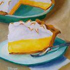 Lemon Meringue Pie Still life Food Dessert Kitchen art Impressionism  by Pamela Burger