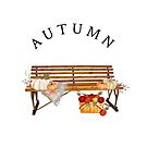 Autumn Bench with Pumpkins & Basket of Apples by Ann Drake