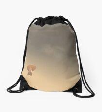 Tiny little elephant in the endless desert Drawstring Bag