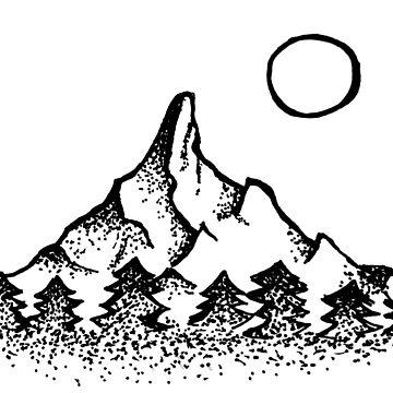 Montaña simple, árboles y luna de hcross214