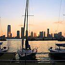 Lower Manhattan Sunset & Sails by elombowmanart