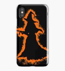 Evil halloween orange and black silhouette iPhone Case