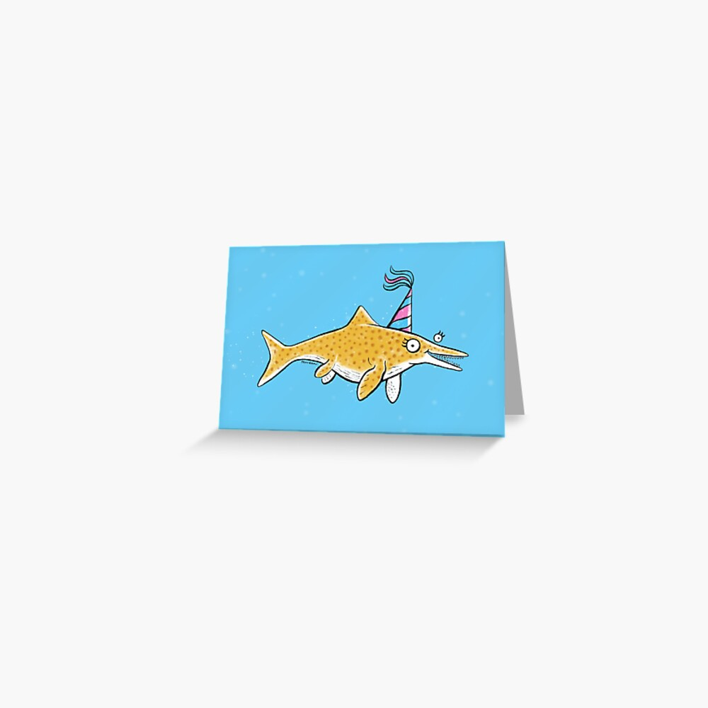 Ichthyosaur in a party hat Greeting Card