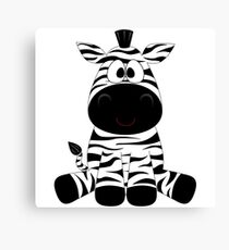 Cute Baby Zebra Cartoon Character Canvas Print