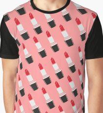 Lipstick Diagonal Fashion - Tropical Pink Graphic T-Shirt