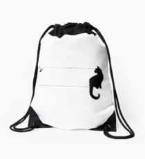 Black Cat and Bird Drawstring Bag