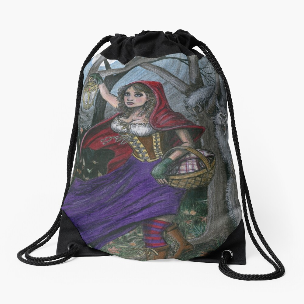 Little Red and the Big Bad Wolf Drawstring Bag