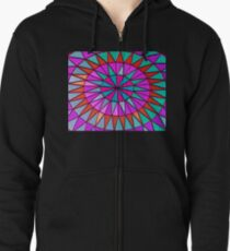 Bright and Colorful Stained Glass Window Mandala for Peace and Happiness Zipped Hoodie