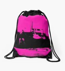 Pink Guitar World Drawstring Bag