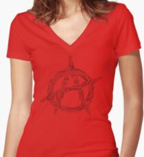 Anarchy A Circuit Board Women's Fitted V-Neck T-Shirt