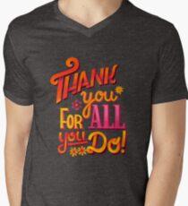 Thank you! T-Shirt mit V-Ausschnitt