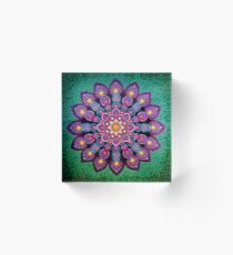 Purple & Green Dot Mandala - Art&Deco By Natasha Acrylic Block