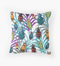 Tropical bugs in the jungle Throw Pillow