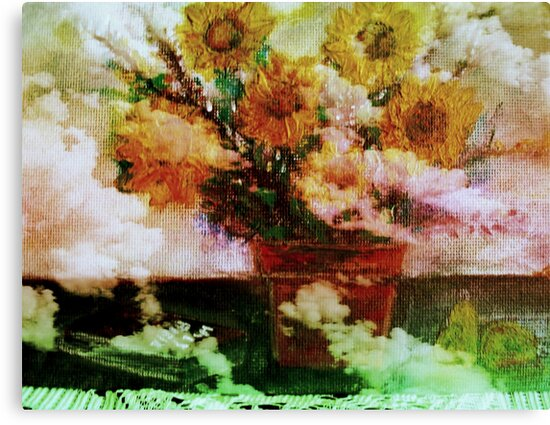 """ Here Comes The Sun ""   Surreal Sunflowers on Table      by fiat777"