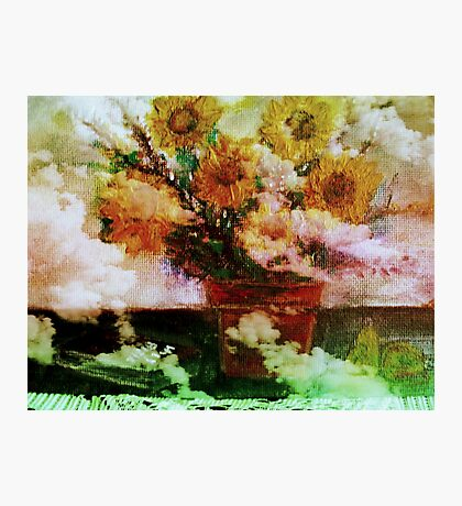 """"""" Here Comes The Sun """"   Surreal Sunflowers on Table      Photographic Print"""