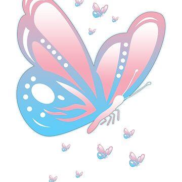 Trans Pride Butterfly Transgender Non-Binary LGBTQ by BlueBerry-Pengu
