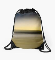 Yellow twilight beach sydney australia yellow black blue waves sea sand Drawstring Bag
