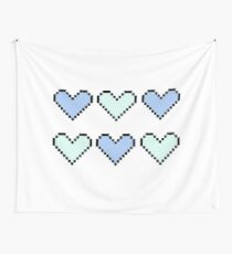 geeky pixel hearts in pastel Wall Tapestry