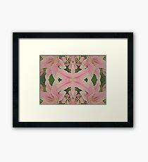 Damask Style Tiger Lily Pattern Framed Print