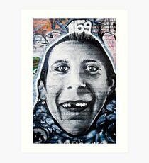Graffiti Face of teethless boy Art Print