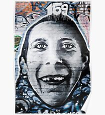 Graffiti Face of teethless boy Poster