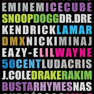 Greatest Rappers #on black by artpopop