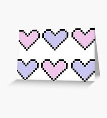 geeky pixel hearts in pastel Greeting Card