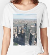 Manhattan, New York City, downtown, #Manhattan, #NewYorkCity, #downtown, #NewYork, skyscrapers, river, Hudson, bridges, streets Women's Relaxed Fit T-Shirt