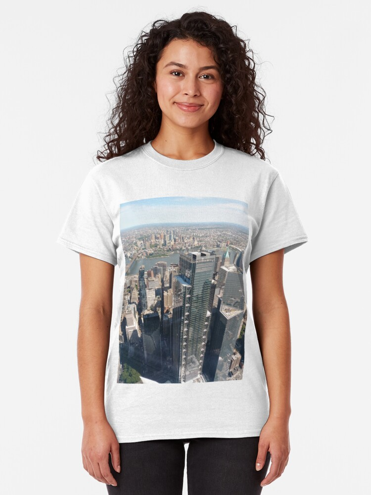 Alternate view of #Manhattan, #NewYorkCity, #downtown, #NewYork, skyscrapers, river, Hudson, bridges, streets Classic T-Shirt