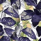 Shiny Blue Leaf Pattern 7 by hutofdesigns