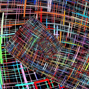 Abstract multicolored checkered fractals pattern.  by IaroslavB