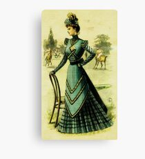 Victorian Lady at Polo Match 1 (Antique Fashion Illustration) Canvas Print