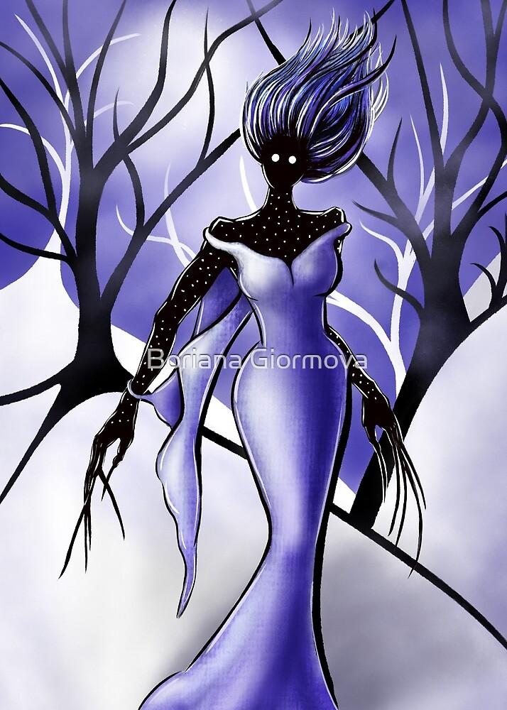 Creepy Woman In Snowy Night by Boriana Giormova