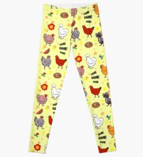 Cute seamless chickens pattern cartoon Leggings