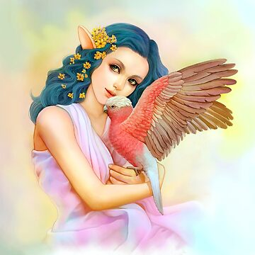 Blue haired elf and her galah by lifewithbirds