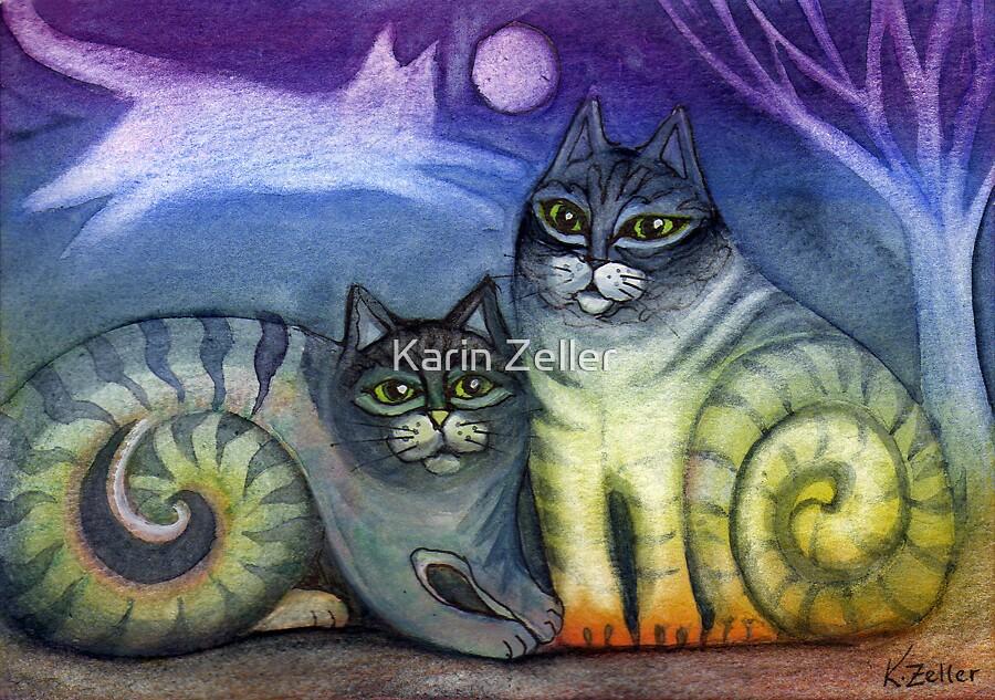 Pussicats by moonlight by Karin Zeller