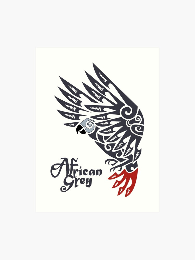 37a138516b504 African grey parrot tribal tattoo