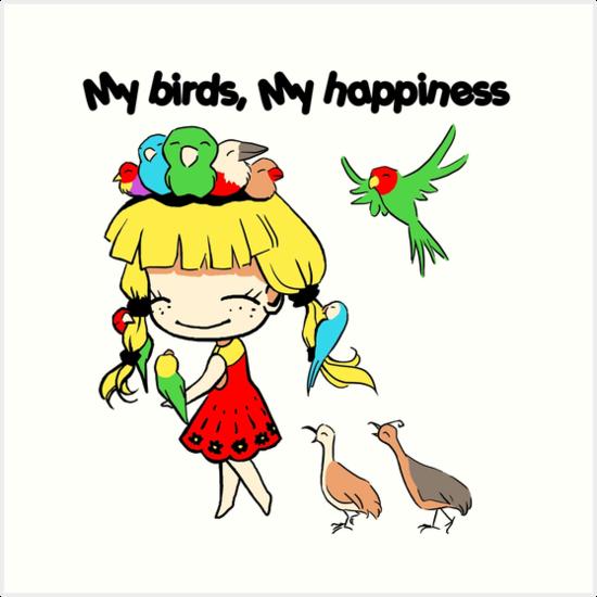 Láminas Artísticas Mis Pájaros Mi Felicidad Dibujos Animados Lindo