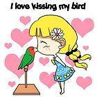 I love kissing my bird cute cartoon by lifewithbirds
