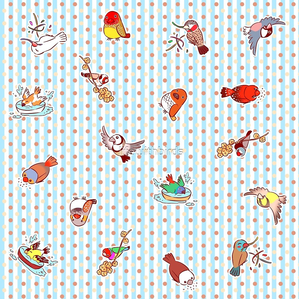 Cute cartoon finches pattern by lifewithbirds