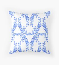 Blue and White Watercolour Floral Swags Throw Pillow