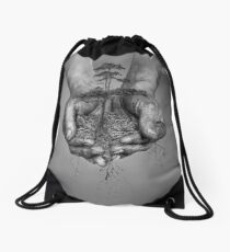 Earth In His Hands Drawstring Bag