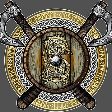 Fenrir Viking Shield (Full Color) by celthammerclub