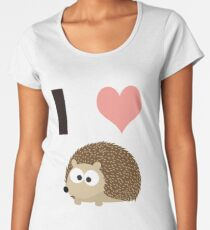Camiseta premium de cuello ancho I Heart Hedgehogs