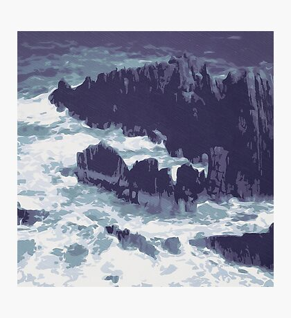 Stormy Sea with Rocks Photographic Print