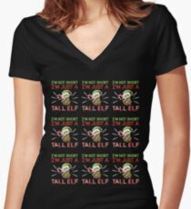 I'm Not Short I'm Just a Tall Elf Tile Pattern Women's Fitted V-Neck T-Shirt