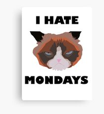 I hate monday cat Canvas Print