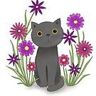 Cat with Flowers von Jabalou