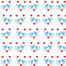 Cute Little Blue Birds Red Love Hearts Ditsy Print by Artification