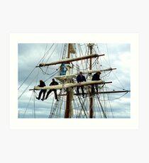 Rigging the mainsail-Hobart Art Print